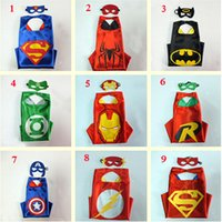 Wholesale Party supplies Double Side kids Superhero Cape Superman Batman Spiderman Teenage mutant ninja turtles kids capes with mask in stock G058