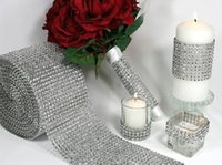 Wholesale 4 Inch x Yards Silver DIAMOND MESH WRAP ROLL SPARKLE RHINESTONE Crystal Ribbon party Wedding decoration