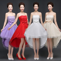 adult hosting - 2016 women lace fashion dresses bridesmaid before short after long dress bridesmaids dress sisters host performance dresses