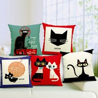 Wholesale Europe Cute Cartoon White Black Cat Thick pounds Print Car Sofa Office Pillowcase Pillow Cover Cushion Hotel Home Decoration