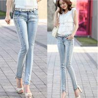 Precio de Vaqueros de las muchachas populares-Venta al por mayor-popular, la moda coreana azul claro de las mujeres señoras de las muchachas los granos largos Skinny Jeans Vaqueros Pantalones, la gota libre del envío