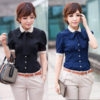 button down shirt - 2014 New Women OL Career Turn Down Collar Cotton Button Shirt short Sleeve Blouse SV002191
