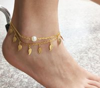Wholesale 2015 Summer Style Women Fashion Jewelry Double Chain Leaf Imitated White Pearl Charm Anklet Bracelet Foot Accessories