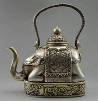 Wholesale Collectible Decorate Old Handwork Tibet Silver Carve Flower Elephant Big Tea pot