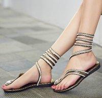 Wholesale Cloth Heels Wholesale - Vintage Women Snake Flip Flops Sandals teen girl Rhinestones winding vervel Flat Sandals Gladiator summer shoes gold silver drop shipping