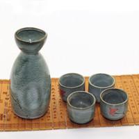Wholesale High Temperature Ceramic Sake Set Home house Gift Sake Wine Cup Sake Wine Pot