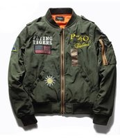 aviator bomber jacket - Fall Bomber Jacket Men Army Green Jackets Mens Stand Collar Patched Badges Aviator Jacket For Men
