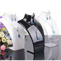 achat en gros de collier en plastique acrylique-Collier Earring Jewelry Set Neck Modèle Acrylique bijoux bon marché Présentoir Mannequin Pendentif Plastic Holder rack