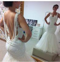 Wholesale Backless Mermaid Wedding Dresses Vintage Lace Pearls Beadings Plus Size Fitted Galia Lahav White Ivory Wedding Gowns Bridal Dresses