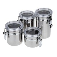 bamboo food storage - 4pcs pack Stainless Steel Sealed Cans Pots Storage Spice Jars with Transparent Covers Coffee Tea Candy Beans Milk Powder Food