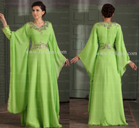 Wholesale 2015 Arabic Dubai Abaya Evening Dresses Crystals Appliqued V neck Long Prom Dresses with Long Sleeves Green Vestido de Fiesta GD