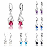 rhodium plated jewelry - High Quality Rhodium Plated Mixed Designs Colors Hot Designs Cubic Zirconia Jewelry Drop Dangle Women Girls Earrings