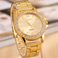 high end watches - Ladies Diamond Gold Women Wristwatches High end Ancient Technology Business Quartz Watch Luxury Fashion Gold Stainless Steel Strap Watch