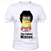 shirts for men italian - The italian minion print funny rocky design t shirt for men short sleeve O neck milk silk top tees