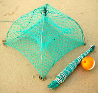 Wholesale Patent Durable Crabbing Net Fully Collapsible crabbing pot Stainless Steel Frame with hand woven net crab trap