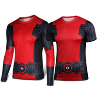 achat en gros de xxl chemises à vélo-Deadpool T-shirt Comics Cosplay 3D Superhero Lycra Sport Cycle Riding Running Bodybuilding Jersey Fitness Tees Vélos Vêtements
