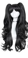 Wholesale Synthetic Lolita Style Halloween Wig For Women Long Black Curly Cosplay Wig With Ponytail
