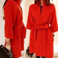 Cheap New 2015 wool coat women's autumn winter wool jacket with belt fashion red wool overcoat outerwear