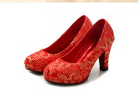 ali leather - New Arrived bride and wedding shoes classic chinese style cheongsam shoes red mid thick heel bridal shoes ali