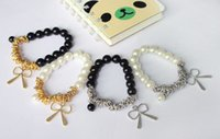 Wholesale 5 Fashion Hot New Bowknot Imitation Pearl Butterfly Wrist Chain Bow Pearl Bracelet Bangle