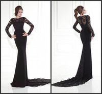 Wholesale Black Lycra Crepe Evening Celebrity Dresses Mermaid Jewel Removable Long Sleeves Formal Dress Party Gowns KR Sweep Train
