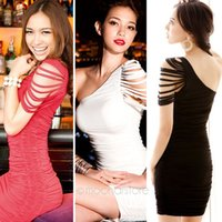 Summer mini club dress - Women s Sexy One Shoulder Bandage Over Hip Bodycon Clubwear Party Mini Dress New Fashion E3278