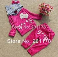 baby outer - color Velvet outer coat hoodies pant baby girl suit retail