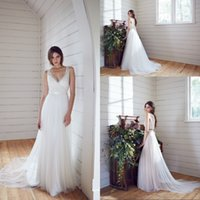 Cheap Karen Willis Holmes New Boho Wedding Dresses 2015 Summer Beach Tull Bridal Gowns V-Neck Sleeveless Button Back Lace Deatil Cheap FY169