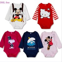 Wholesale Free DHL Baby rompers Minnie mouse Cartoon Long sleeves cartoon bodysuits Infants one piece bodysuit