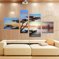 african abstract paintings - Handmade African Forest Home Decoration Modern Abstract Oil Painting Wall Art Boat Paintings On Canvas Tree Blue Sky Seascape