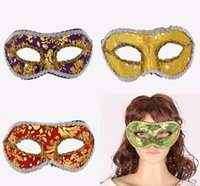 ball coverings - New elegant masquerade ball masks Fancy Christmas mask Festive and party supplies Half face plastic with fabric coverings and lace hot sale