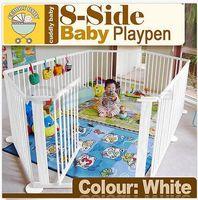 baby playpen gate - Baby Kids Toddler Deluxe White Wooden Playpen Divider Safety Gate Panel