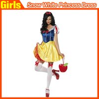 fancy dress sexy - Sexy Snow White Princess Adult Halloween Costume Women Fairytale Cosplay Christmas Performances Fancy Dress Scoop Neck Pleated Dress