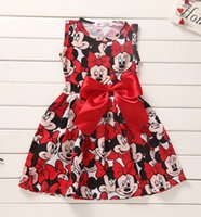 Wholesale 2015 Summer Clothing Baby Girls Dress Lovely Bow Mickey Mouse Minnie Dress Baby Clothes Kids Clothing Girls Dresses