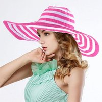 Wholesale Wide Brim Womens Protection Sun Beach Floppy Cap Crushable Hat Rose fashion stripe caps medium size for almost