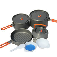 Wholesale 4 People Survival Camping Cook Set Feast Cookware Pan Pot Spoon Kettle Bowl Portable Cutlery Feast