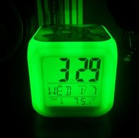 Wholesale Spider Man Digital Alarm Clock - Spider Man LED Digital Alarm Clock 7 colors Colorful Desk Table Clocks Night Light Glowing Kids Spiderman Toy Students Cartoon Alarm Clock