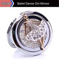 ballet gifts - 1Pc Beauty Crystal Ballet Dance Girl Pocket Compact Handbag Mini Mirror Makeup Cosmetic Portable Double Side Lady Gift Mirrow