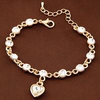 achat en gros de bracelet en cristal d'une direction-Mode en or Bracelets Bangles pour les femmes de Crystal Link coeur de la chaîne One Direction Charm bracelet Bracelets Haute Qualité femme