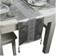 beading table - CM Gold Silver Luxury PU Fabric Table Runner Modern Elegant Handmade Beading Table Flag Hotel Sample House Soft Decor