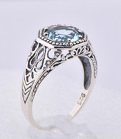 Wholesale 2014 new sterling silver ring Austria aquamarine creative fashion jewellery beautiful color topaz stone ring