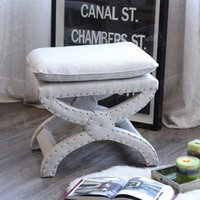 Wholesale American French European rustic style furniture cloth art low stool foot stool bed stool