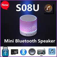 audio paint - S08U Cylindrical Crackle Paint LED Light Flash Mini Protable Outdoor Bluetooth Speaker USB AUX Portable Handfree for MP3 Player Cellphone PC