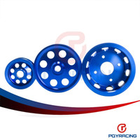 Wholesale PQY STORE Light weight crank pulley New FOR Nissan GTR BNR32 RB26DETT RB20 RB25 Underdrive Light weight crank pulley Blue