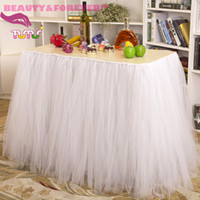Wholesale Fluffy white tulle cm height Polyester party table tutu skirt