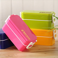 Wholesale Double Layer Rectangle Lunch Box Microwave Oven Bento Box Food Container with Chopstick Eco friendly Lunchbox JH0019 smileseller