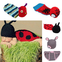 Wholesale Baby Infant Handmade Knitted Beanie Costume Sets Warm Newborn Crochet Photography Props Cosplay Clothes Style Choose EJY