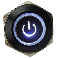 Wholesale V A mm White Symbol amp Circle LED Black Metal Switch Push Button ON OFF