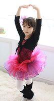 Wholesale Girls Ballet dresses children kids rose red sleeveless dancewear baby girl flower lace ballet tutu skirt dress J102001 certified by CTI USA