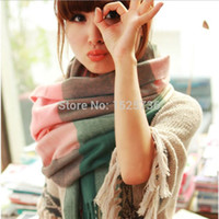 knitted cashmere scarf - 15 Color Womens Scarf Long Fashion Casual Warm Cashmere Shawl Plaid Infinity Scarf Knitted Scarf Women Winter Scarves WJ150